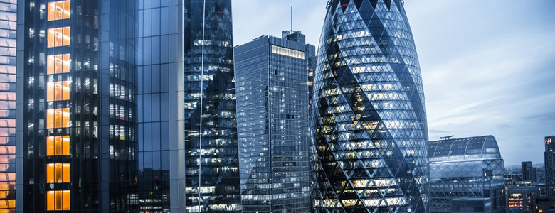 City of London financial district skyscrapers